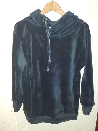 Gruba welurowa bluza z kapturem. Granatowa. Rozmiar S.