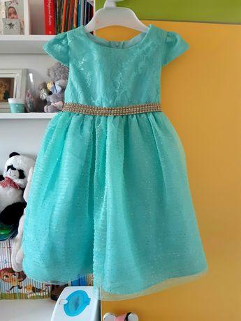 Piękna nowa sukienka Rare Edilions miętowa brokat cyrkonie na wesele