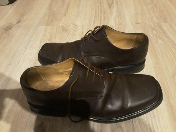 Eleganckie skórzane buty męskie skóra naturalna 45 brązowe brąz