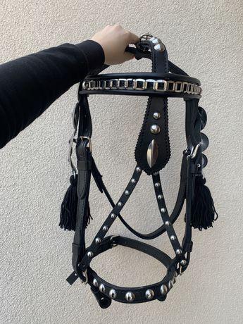 Ogłowie uzda kantar ozdobne czarne XFULL na zimnokrwistego konia