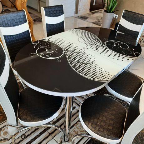 АКЦИЯ Обеденный раздвижной кухонный 3D стол  на 6/4 стульев Турция ЖМИ