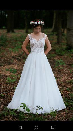 Suknia ślubna 34 akemi gala muślin, na niską osobę
