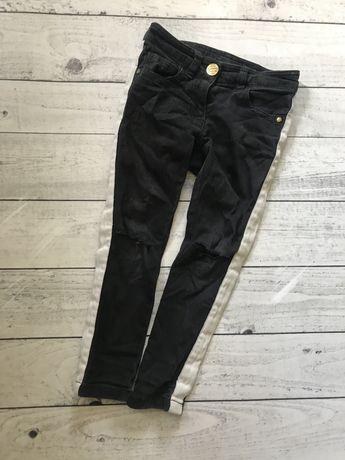 Next джинсы зауженные с потертостями 4 г черные с лампасами