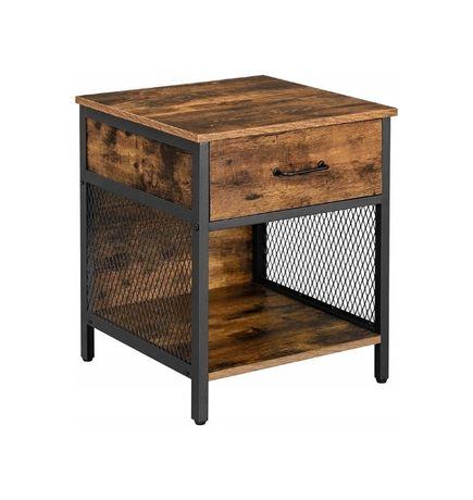 Szafka nocna stolik z 1 szufladą rustykalny Loft (LET058B01)