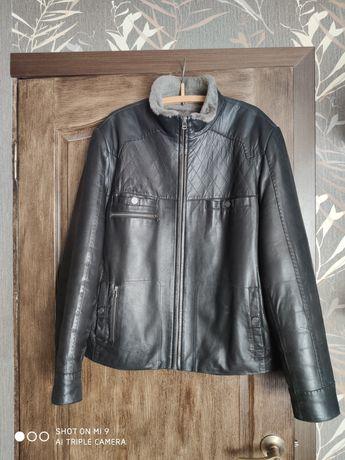 Куртка кожаная зимняя р.52