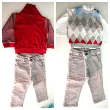 Conjunto de menino: Camisola, colete, sweatshirt, calças - 12m / 1 ano