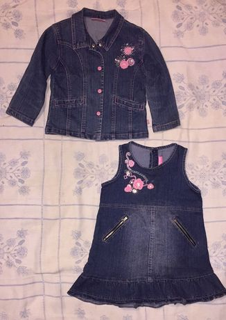 Сарафан пиджак джинсовый на полненькую девочку размер 98-104