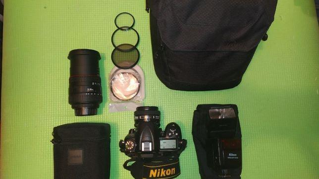 Nikon D7000 + nikkor 50mm 1.4 + sigma 28-200mm 3.5-5.6 macro