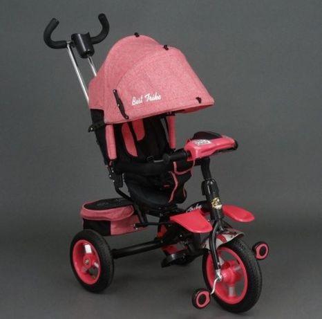 Трёхколёсный велосипед, Поворот сиденья, Фара+Музыка, резиновые колеса