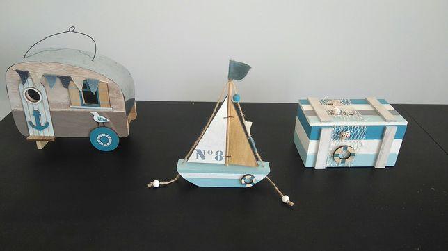 Conjunto 3 peças decorativas barco / caravana / arca