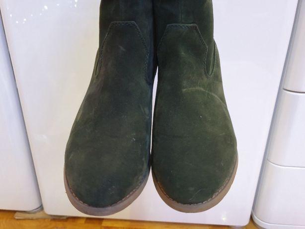 Kowbojki kozaki kozaczki botki eko zamsz zielone zieleń khaki 40 ociep