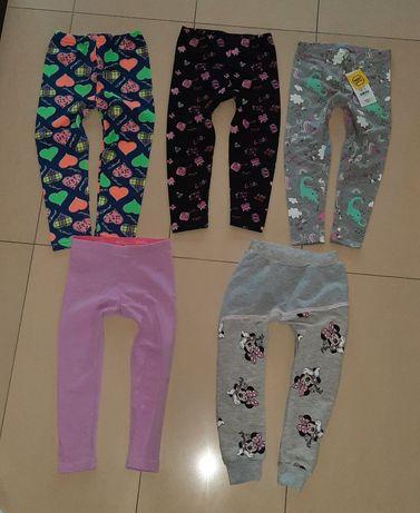 Zestaw paka  5szt 98 leginsy spodnie dresowe myszka minie endo