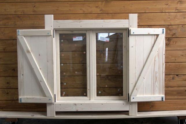 Okno drewniane z okiennicą ZESPOLONE - CIEPŁE 90x90 okiennice domek