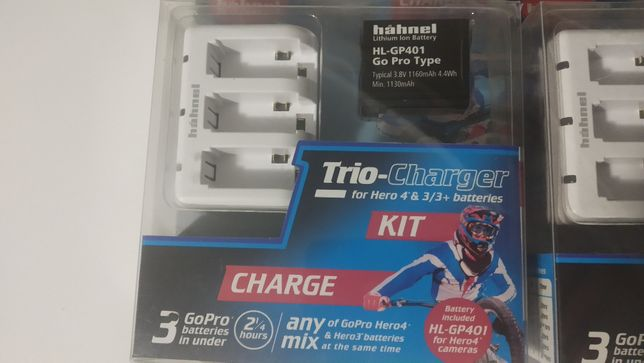 Bateria + carregador triplo GoPro Hero 4 e Hero 3 Hahnel NOVO e SELADO