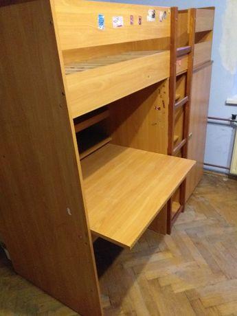 Łóżko piętrowe antresola z szafą i biurkiem VOX Skaut