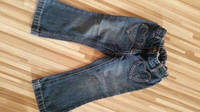 Spodnie jeansy dżinsy. 92 cm. Serduszka. Stan idealny