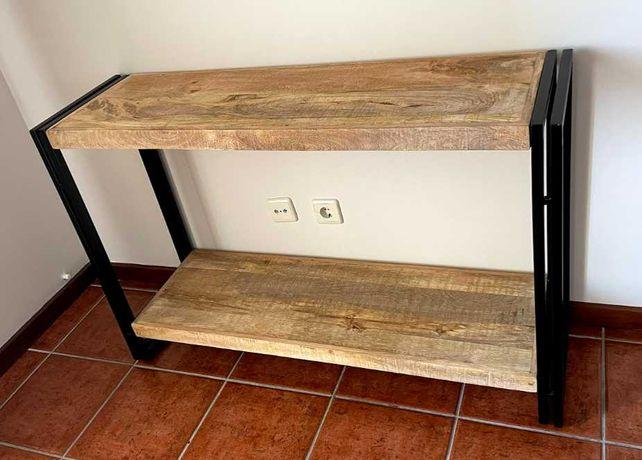 Consola moderna madeira natural e ferro