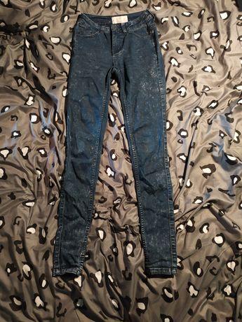 Ciemne grabatowe marmurki spodnie z wysokim stanem xs pieces