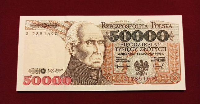 Banknot 50.000 zł 1993 Staszic seria S UNC 50000 NBP PRL