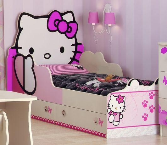 Детская кровать для девочки Хелло Китти в Наличии Hello Kitty с ящик
