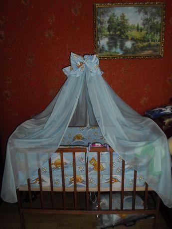 Комплект кроватка детская с матрасом постельным и балдахином