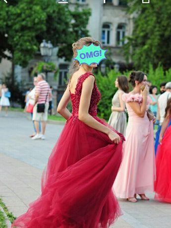 ВЫПУСКНОЕ ПЛАТЬЕ (бордовое, корсет, красивое, модное)
