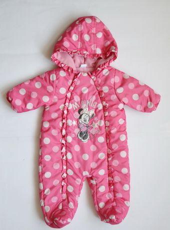 Розовый в горох комбинезон, синтепон Disney девочке 3-6 месяцев.