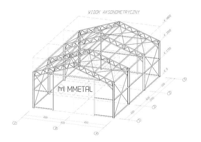 Konstrukcja stalowa 8mx12m, hala namiotowa, wiata