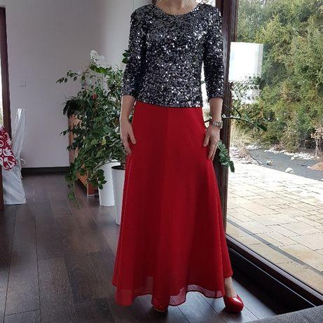 spódnica maxi czerwona święta, roz s