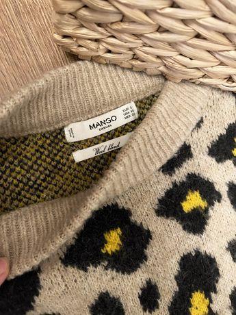 Свитер mango леопард леопардовый кофта шерсть
