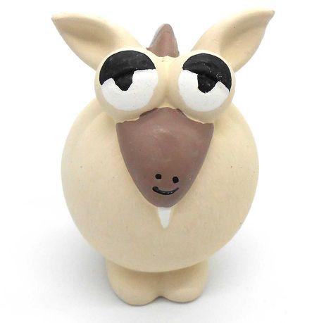 Zabawka gumowa lateksowa piszczałka dla psa gryzak koza biała 11cm