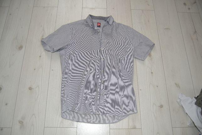 Biało szara elegancka męska koszula L 42 paski