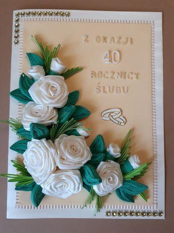 Kartki ślubne, rocznica ślubu, ręcznie robione, quilling