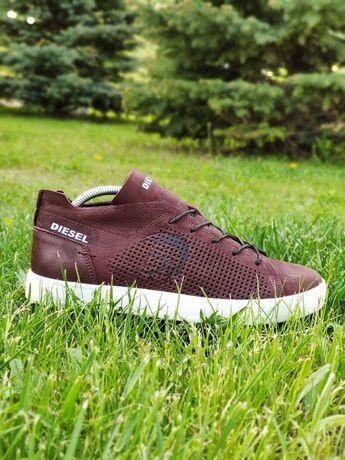 Diesel Дизель летние мужские кожаные кеды, кроссовки,туфли,мокасины