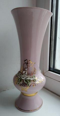 Ваза для цветов, розовый фарфор, позолота. Редкая, СССР.