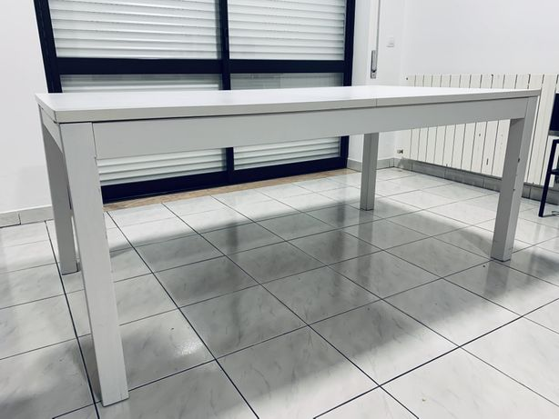 Mesa jantar branca extensível 175x95cm (extensível até 260cm)