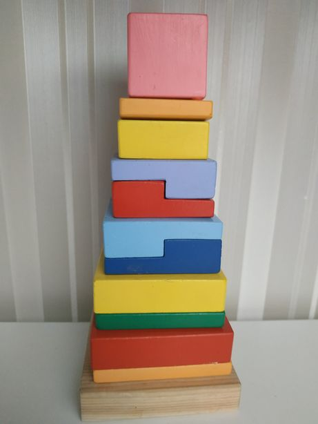 Развивающая деревянная пирамида квадрат Руди