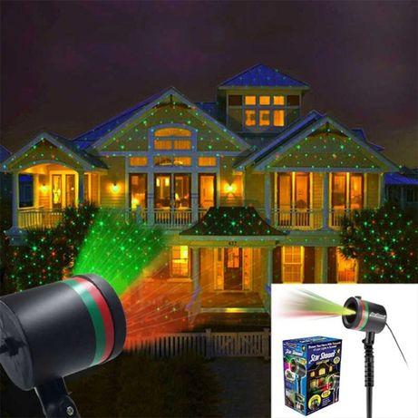 Новогодний уличный лазерный проектор на дом, диско проэктор usb