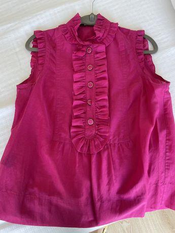 Vendo blusa Carolina Herrera, cor de rosa, follhos
