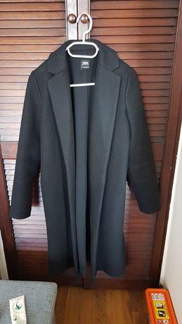 Zara basic płaszcz przejściowy czarny wiosenny jesienny długi S M 38