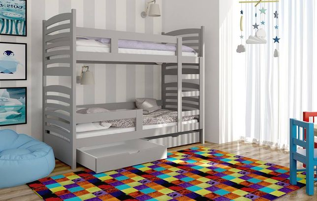 Łóżko piętrowe dwuosobowe Janek 2 z szufladami, materace gratis!