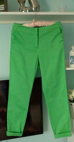 Letnie Spodnie zielone Solar cygaretki chinosy bawełna