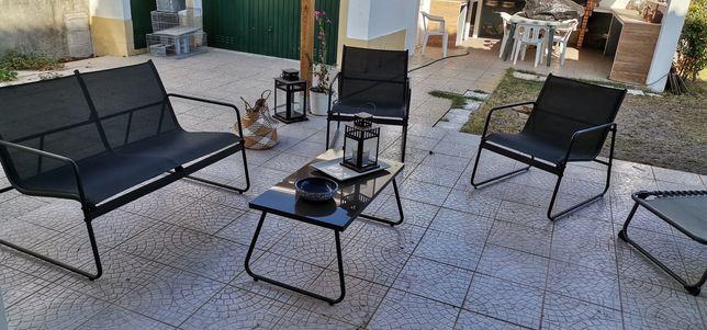 Conjunto jardim, 4 cadeiras 2 espreguicadeiras 3 sofás 1 mesa centro