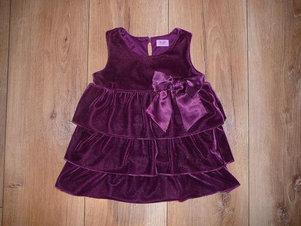 J. NOWA, Sukienka f&f, 18-24 miesiące, 92 rozmiar, fioletowa