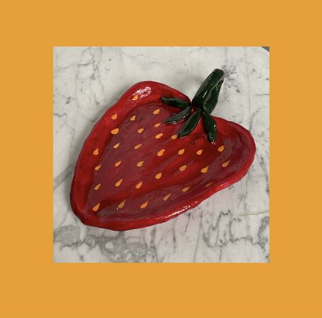 Podstawek talerzyk tacka truskawka strawberry gliniana handmade