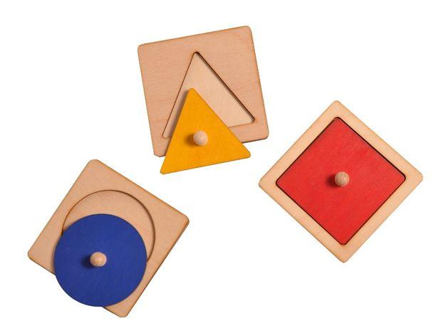 Układanka koło, kwadrat, trójkąt, 3 koła Montessori
