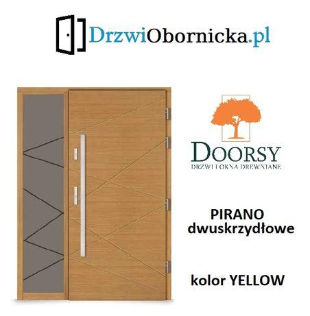 Drzwi DOORSY PIRANO drewniane zewnętrzne wejściowe 100mm grubości