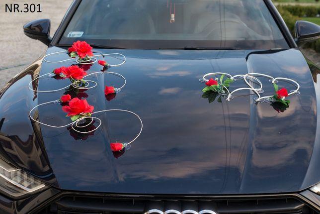 Śliczne ozdoby na samochód do ślubu-dekoracje. Zestaw róże+serca+kokar