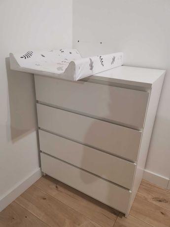 Komoda z przewijakiem Ikea Malm biała 4 szuflady, organizery, domykacz