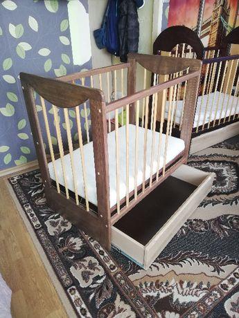 Łóżęczko dziecięce 100x60 drewno jesion w kolorze brązu